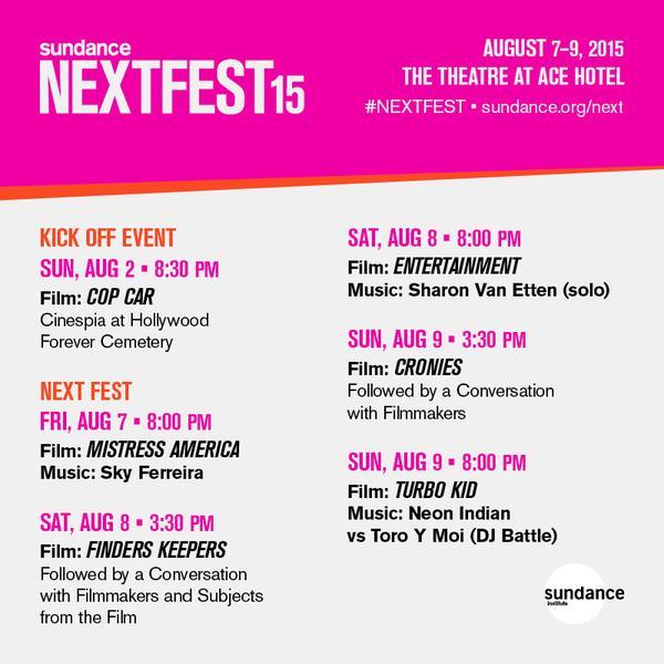 Sundance NEXTFEST 2015 Lineup