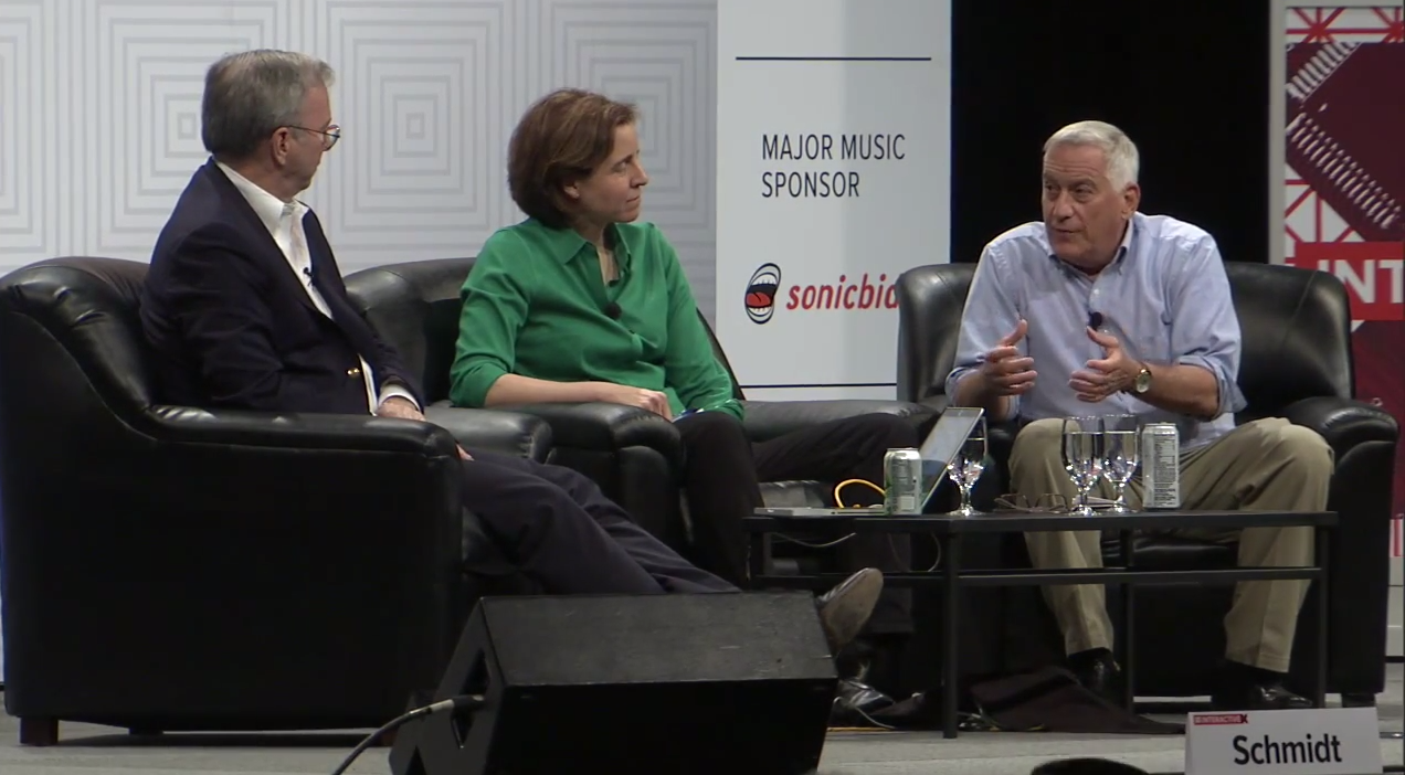 Eric Schmidt, Megan Smith & Walter Isaacson at SXSW 2015. Image by: SXSW / YouTube