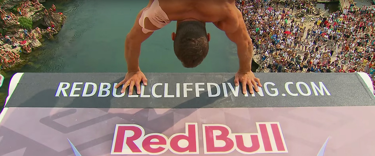 Red Bull cliff diving. Image by: Red Bull / YouTube