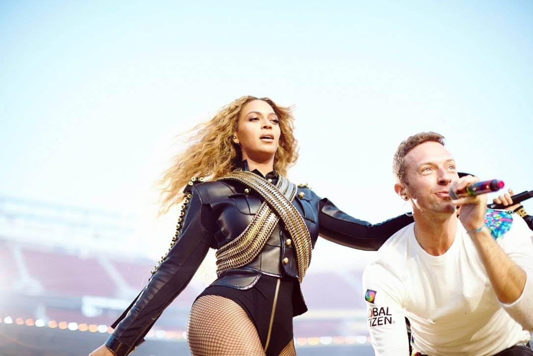 Super Bowl 50 halftime show featuring: Chris Martin, Beyoncé. Photo by: Courtesy of Parkwood Entertainment