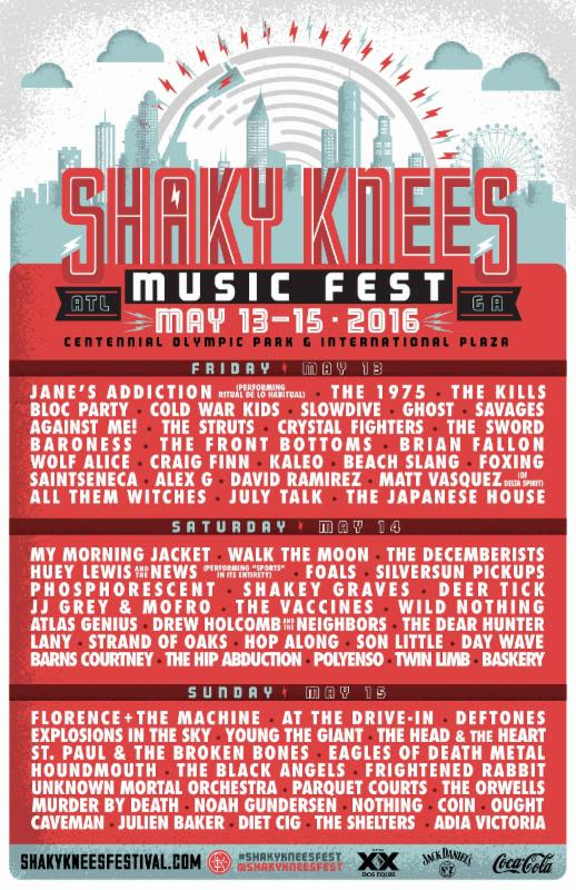 Shaky Knees Music Festival lineup featuring Slowdive, Deer Tick and more in Atlanta. Photo provided.