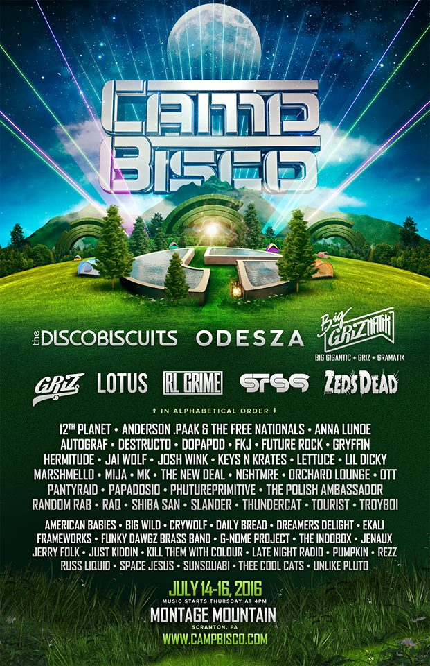 Camp Bisco 2016 lineup featuring The Disco Biscuits, ODESZA and many more. Photo by: Camp Bisco