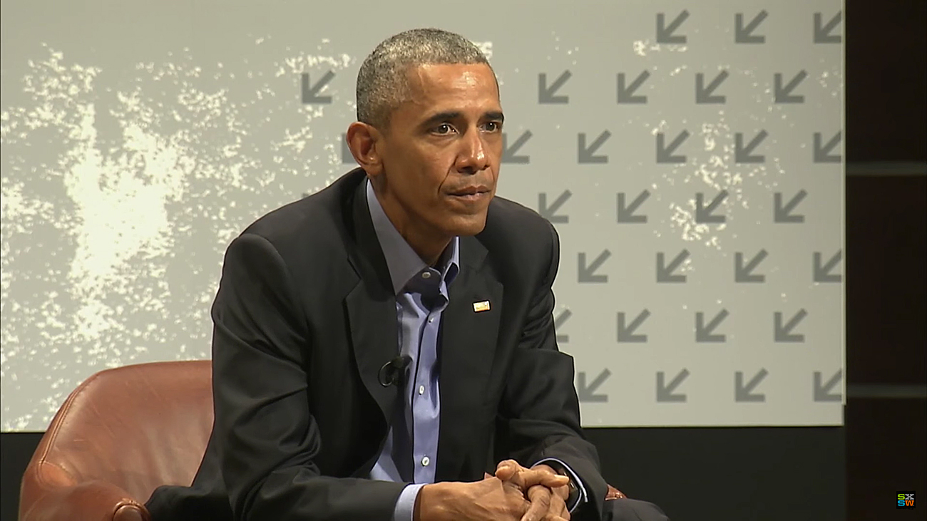 President Barack Obama keynote speaker at SXSW Interactive 2016. Photo by: SXSW / YouTube