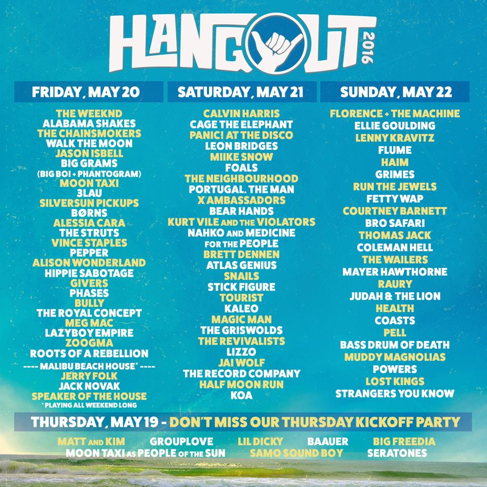 Hangout Music Festival 2016 daily lineup. Photo by: Hangout Music Festival.