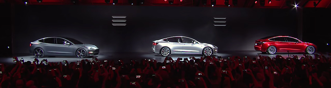 Tesla Motors Model 3. Photo by: Tesla Motors / YouTube