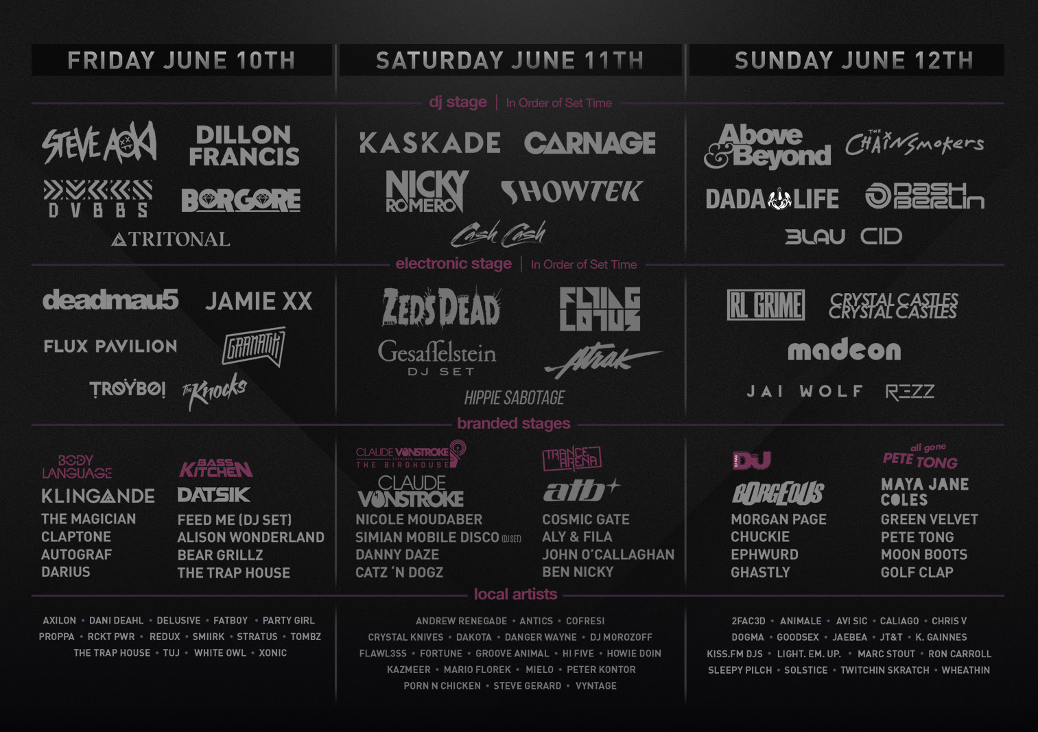 Spring Awakening 2016 daily lineup. Photo by: Spring Awakening