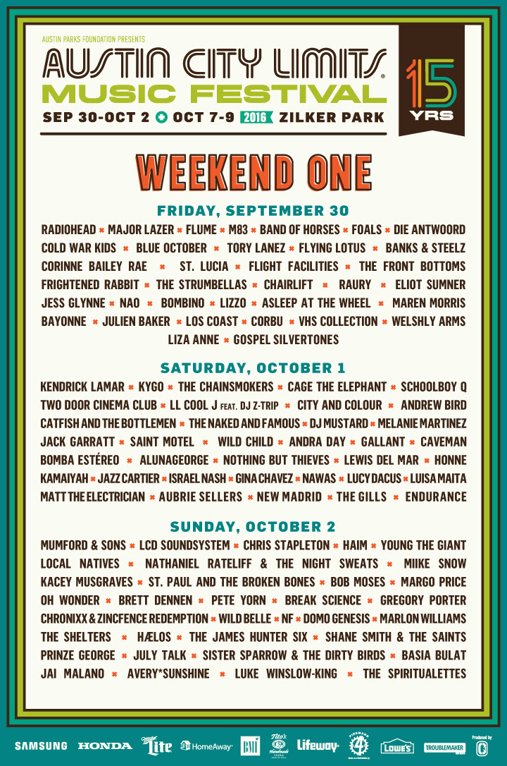 ACL Festival 2016 daily lineup. Photo provided.