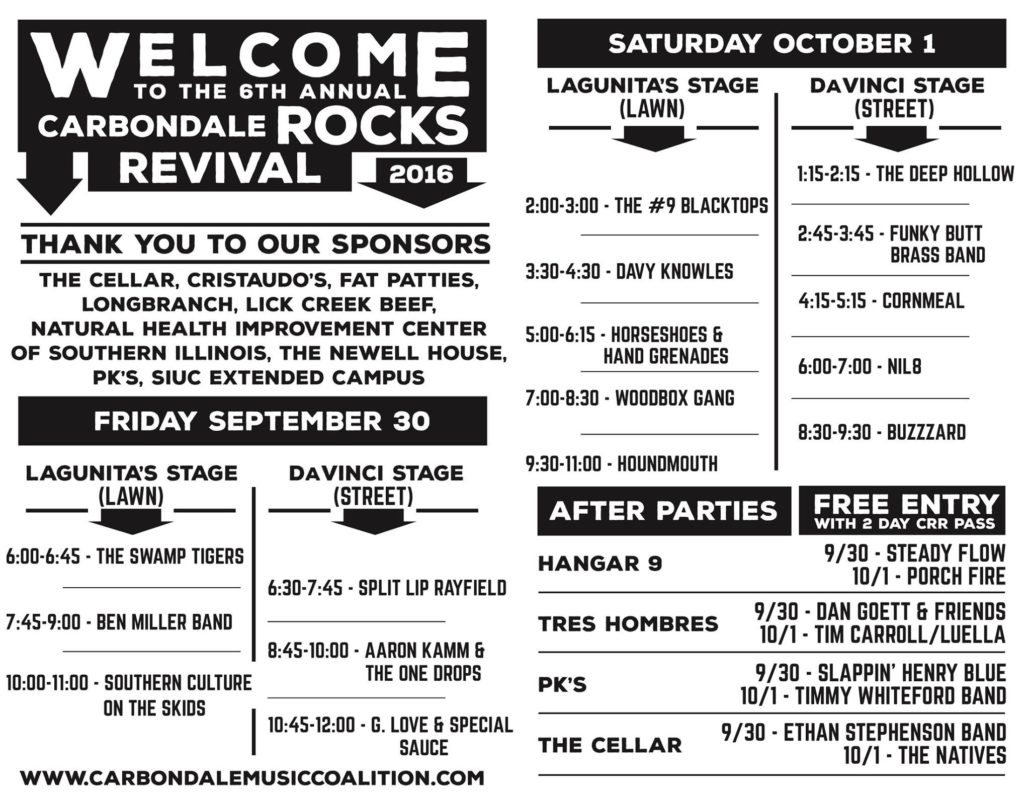Carbondale Rocks Revival schedule. Photo by: Carbondale Rocks Revival