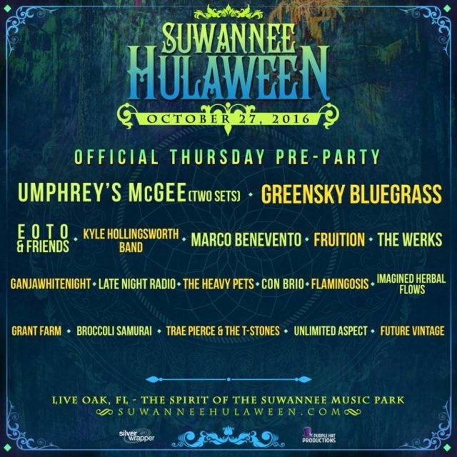 Suwannee Hulaween 2016 Pre-Party lineup. Photo by: Suwannee Hulaween