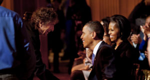 """Bob Dylan shakes President Barack Obama's hand following his performance at the """"In Performance At The White House: A Celebration Of Music From The Civil Rights Movement"""" concert in the East Room of the White House, Feb. 9, 2010. (Official White House Photo by Pete Souza)"""