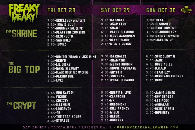 Freaky Deaky 2016 schedule. Photo by: Freaky Deaky