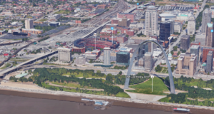 A 3D image of downtown St. Louis on Google Maps. Photo by: Google Maps