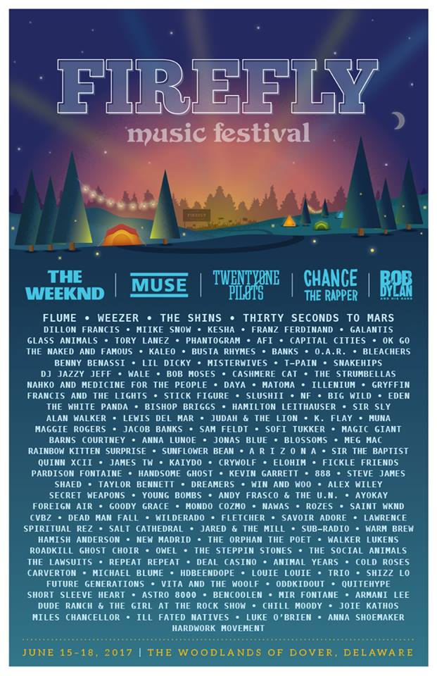Firefly Music Festival 2017 lineup. Photo by: Firefly Music Festival
