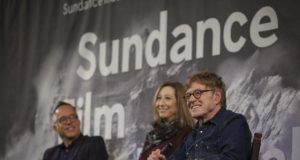 Festival Director John Cooper, Sundance Institute Executive Director Keri Putnam, and President and Founder of Sundance Institute Robert Redford at the 2016 Sundance Film Festival Day One Press Conference. (c) 2015 by Brandon Joseph Baker.