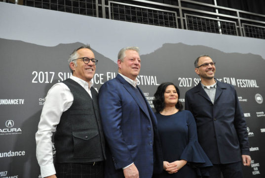 Festival Director John Cooper, Former Vice President Al Gore, Director Bonni Cohen and Director Jon Shenk attend the World Premiere of An Inconvenient Sequel: Truth to Power by Bonni Shenk and John Shenk, an official selection of the Documentary Premieres program at the 2017 Sundance Film Festival. © 2017 Sundance Institute | photo by Stephen Speckman.