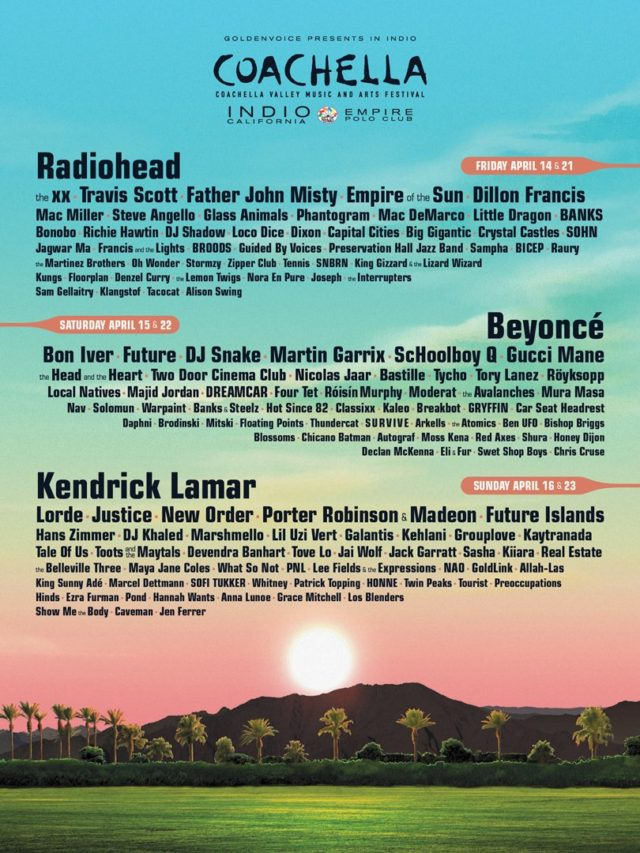 Coachella 2017 lineup. Photo by: Coachella