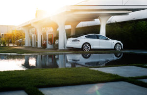 Tesla Motors electric car charing station, also known as a Supercharger. Photo by: Tesla Motors / Alexis Georgeson