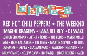 Lollapalooza Paris 2017 lineup featuring the Red Hot Chili Peppers, The Weeknd, Imagine Dragons and more. Photo provided.