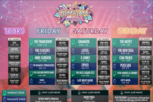 Gem and Jam Festival 2017 lineup. Photo by: Gem and Jam Festival