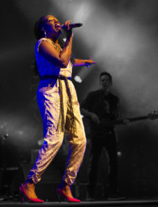Erica Falls, vocalist in Galactic, performing at The Fillmore Auditorium in Denver on 02/04/17. Photo by: Matthew McGuire