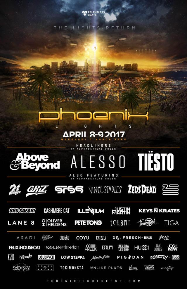 Phoenix Lights Festival 2017 lineup. Photo provided.