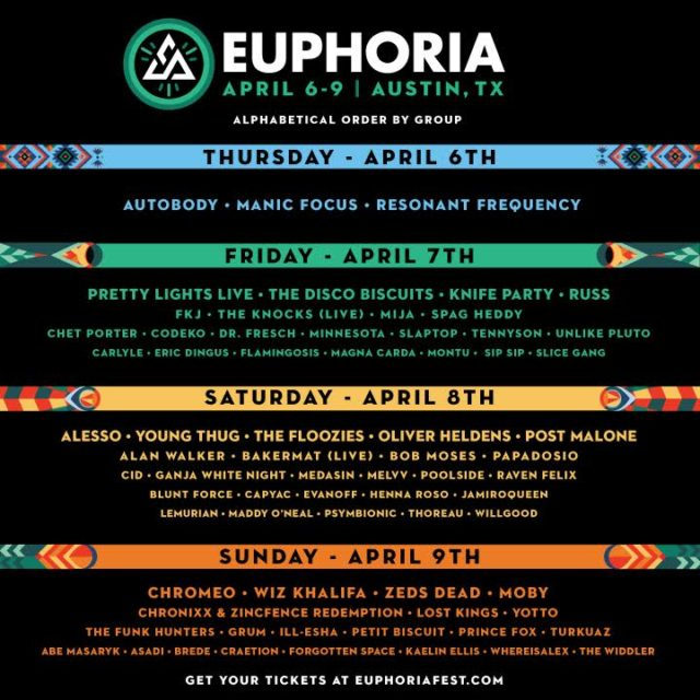 Euphoria Music Festival daily lineups. Photo by Euphoria Music Festival