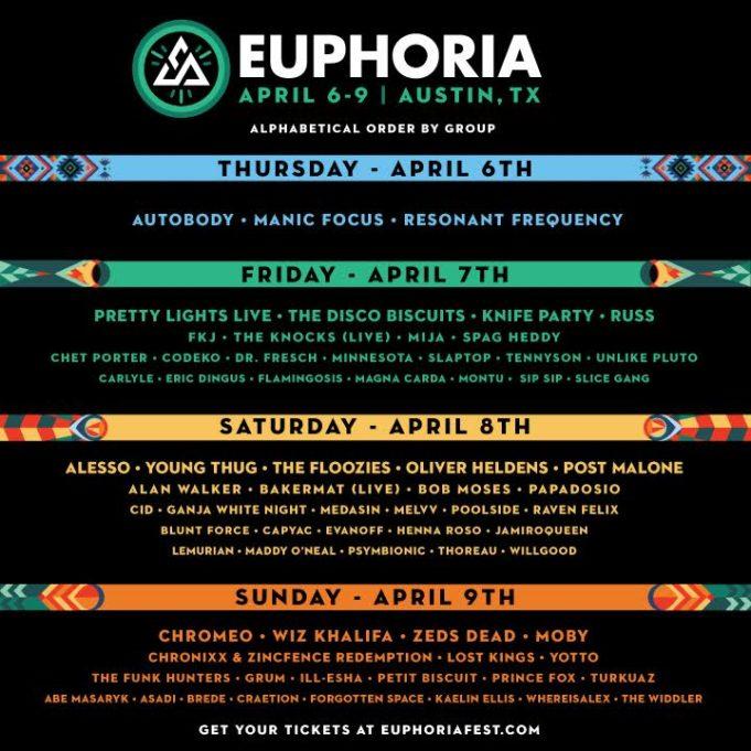 Euphoria Music Festival daily lineups. Photo by Euphoria Music Festival