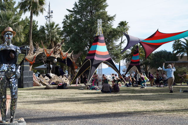 Yoga at Quartz Stage during the 2017 Gem and Jam Festival. Photo by: Samantha Harvey