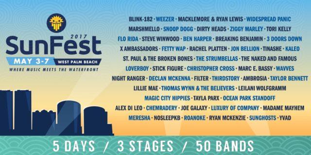 SunFest 2017 lineup. Photo by: SunFest / Twitter