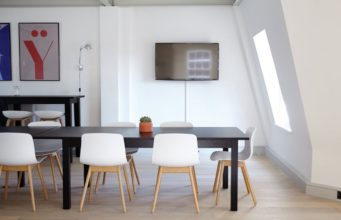 A television within office space. Photo by: Pexels.com