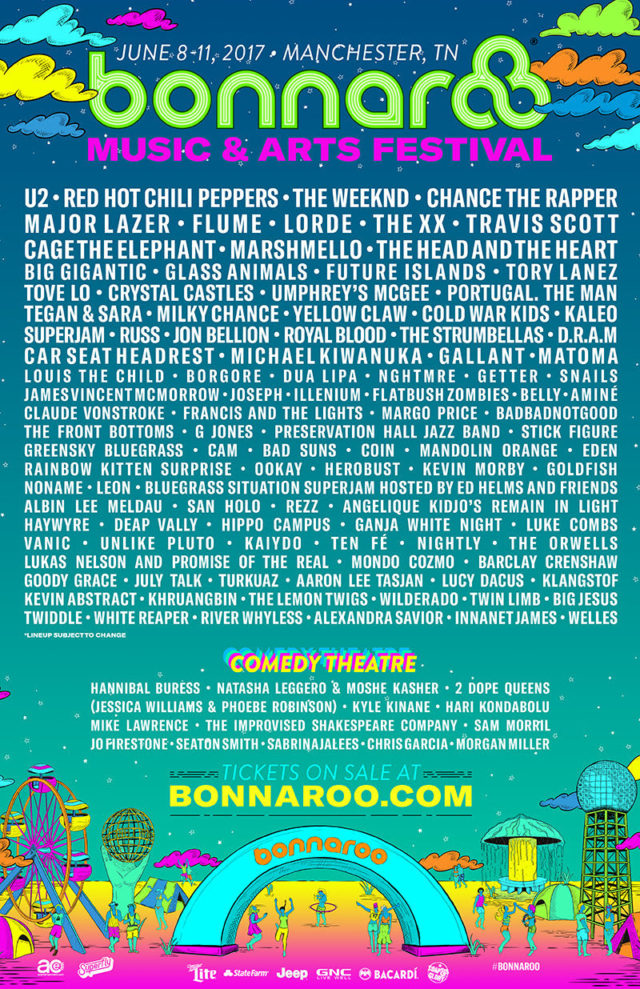 Bonnaroo Music Festival 2017 lineup. Photo by: Bonnaroo Music Festival