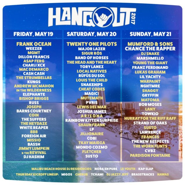 Hangout Music Festival 2017 daily lineup. Photo by: Hangout Music Festival