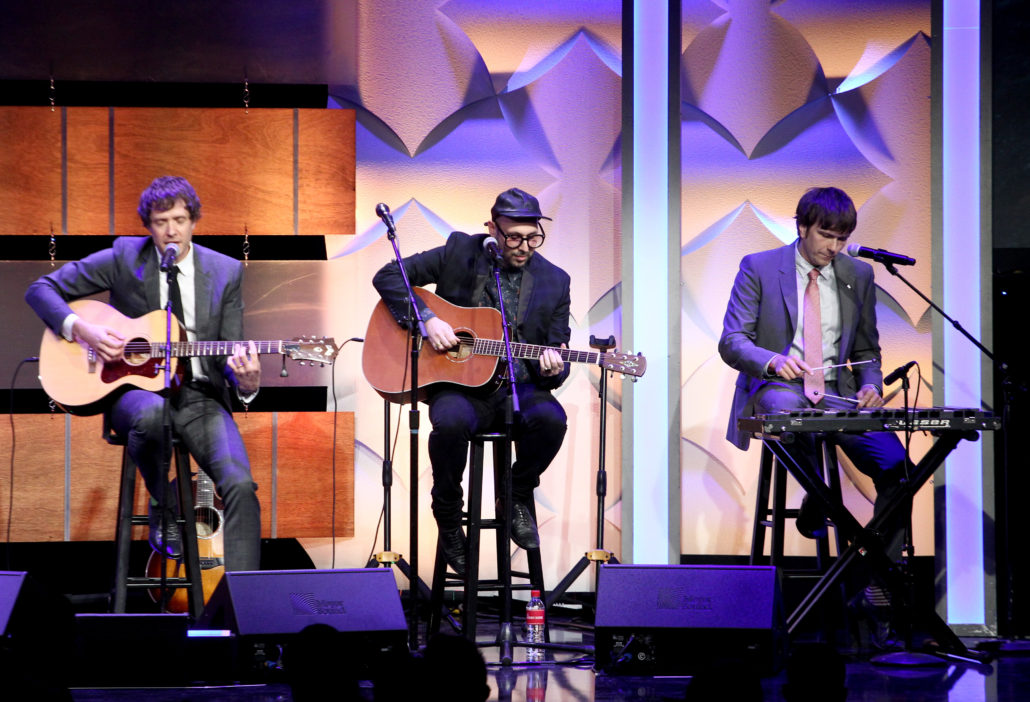 BEVERLY HILLS, CA - APRIL 18: Musicians Damian Kulash, Tim Nordwind, and Andy Ross of OK Go perform onstage during the Thirst Project's 8th Annual thirst Gala at Beverly Hills Hotel on April 18, 2017 in Beverly Hills, California. (Photo by Tommaso Boddi/Getty Images for Thirst Project )