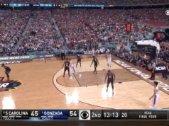 Final Four competition between the South Carolina Gamecocks and the Gonzaga Bulldogs. Photo by: March Madness / YouTube