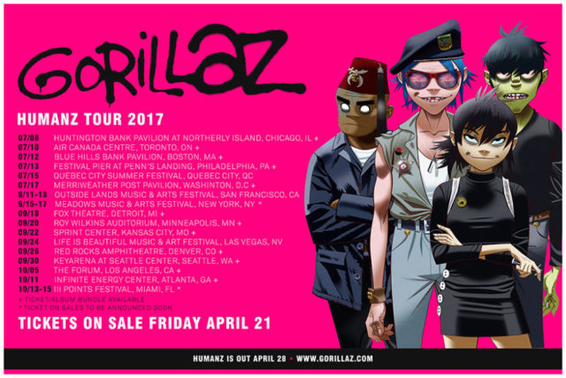 Gorillaz 2017 tour dates. Photo by: Gorillaz
