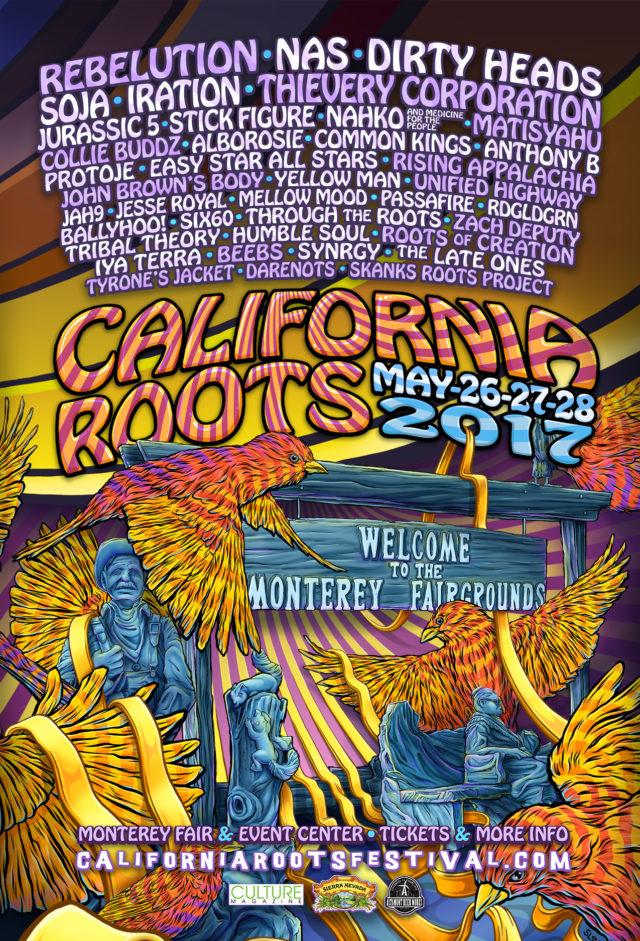 California Roots Music & Arts Festival lineup poster. Photo by: California Roots Music & Arts Festival