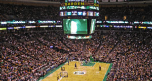 A Boston Celtics home game at the TD Garden. Photo by: Ktr101. Link at: https://goo.gl/llqfmq. Photo taken on February, 1 2009