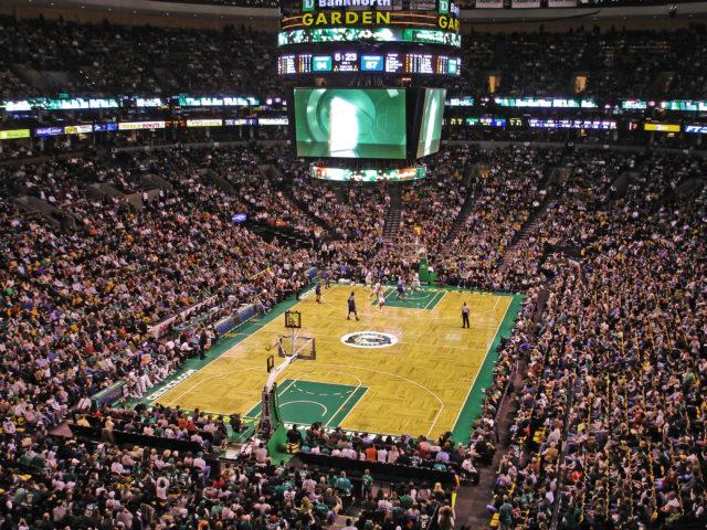 A Boston Celtics home game at the TD Garden. Photo by: Ktr101. Link at: https://goo.gl/llqfmq. Photo taken on February, 1 2009