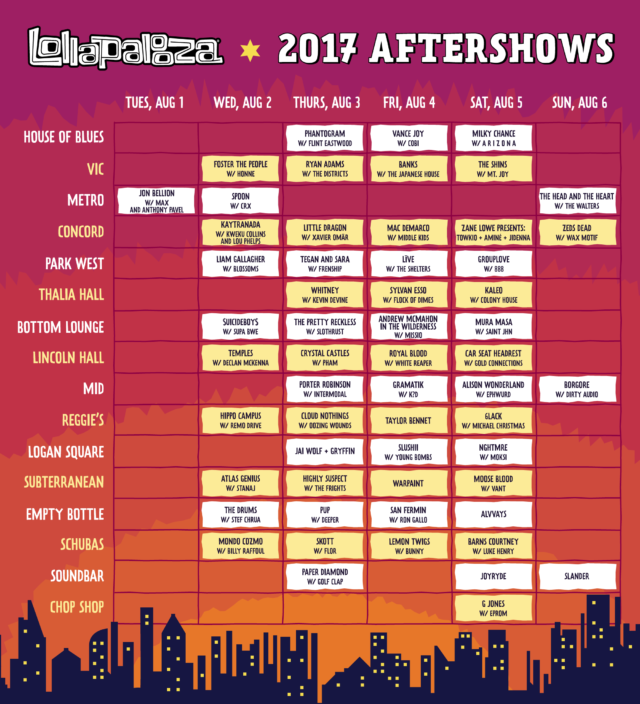 Lollapalooza 2017 Chicago aftershows. Photo by: Lollapalooza