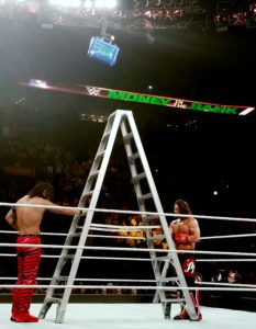 AJ Styles and Shinsuke Nakamura at WWE Money In The Bank 2017. The event was hosted at the Scottrade Center in St. Louis. Photo by: Matthew McGuire
