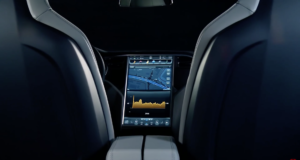 The dash to the Model S for streaming music, navigation and more. Photo by: Tesla Motors / YouTube