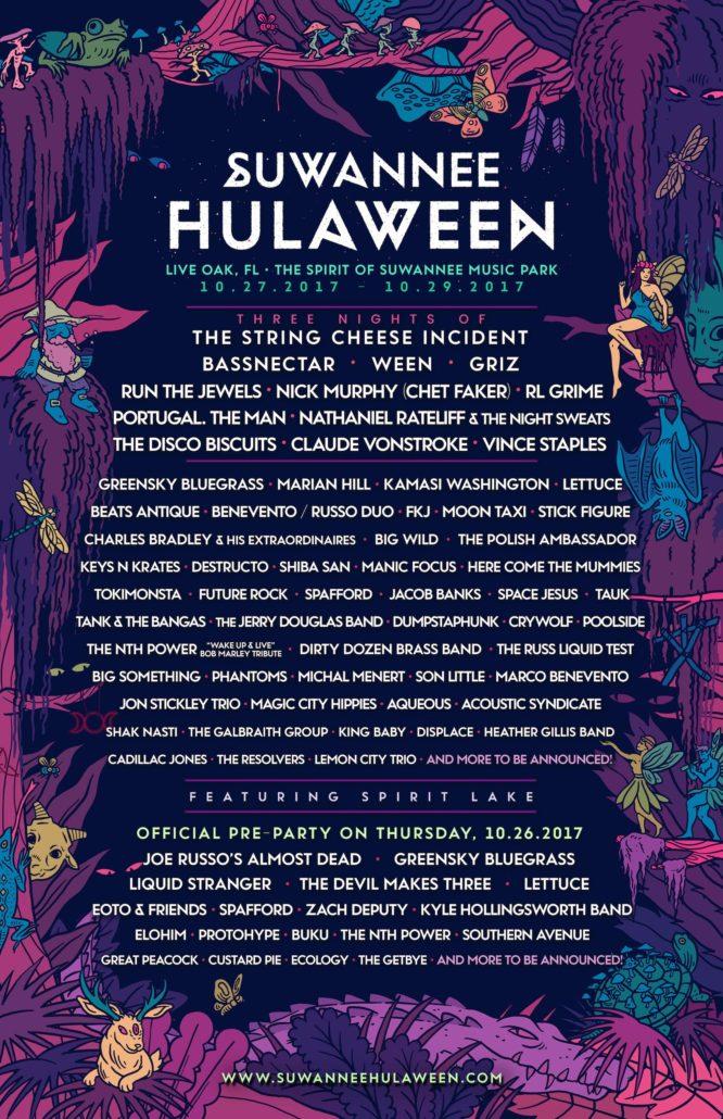Suwannee Hulaween 2017 lineup. Photo provided.