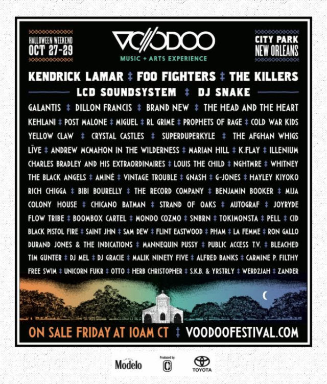 Voodoo Music Festival 2017 lineup. Photo by: Voodoo Music Festival