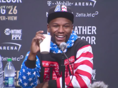 Floyd Mayweather at press conference. Photo by: UFC on FOX / YouTube