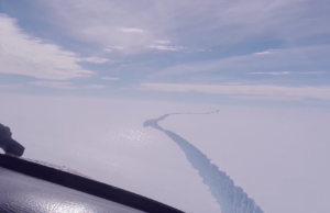 The Larsen C Ice Shelf in West Antarctica. Photo by: National Geographic / YouTube