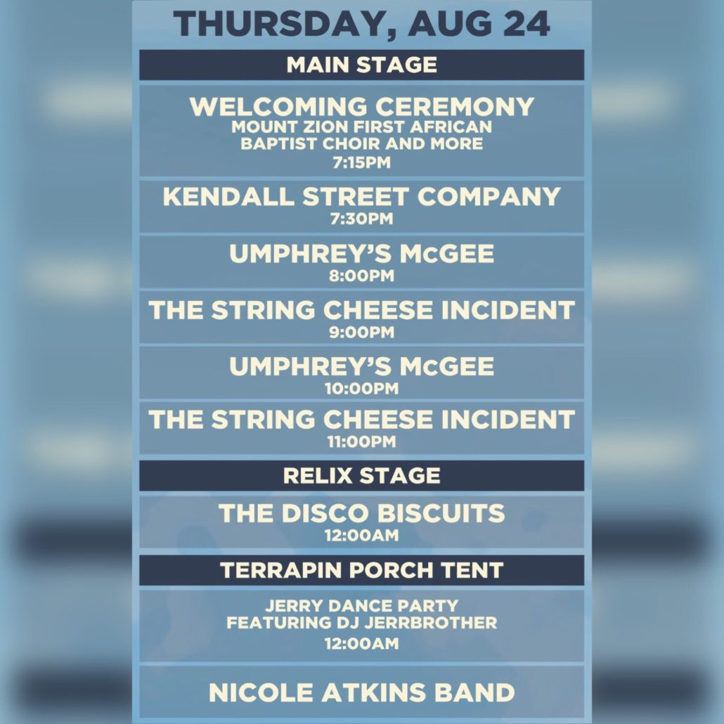 LOCKN Thursday streaming schedule. Photo by: LOCKN Festival / Twitter