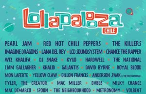 Lollapalooza 2018 Chile lineup. Photo provided.