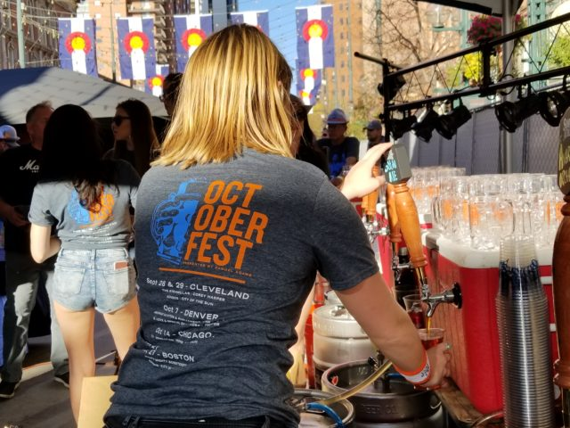 Bartender at Sam Adams Denver Octoberfest 2017. Photo by: Matthew McGuire