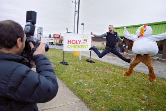 Morgan Spurlock appears in Super Size Me 2: Holy Chicken! by Morgan Spurlock, an official selection of the Spotlight program in the 2018 Sundance Film Festival. Courtesy of Sundance Institute | photo by Warrior Poets.