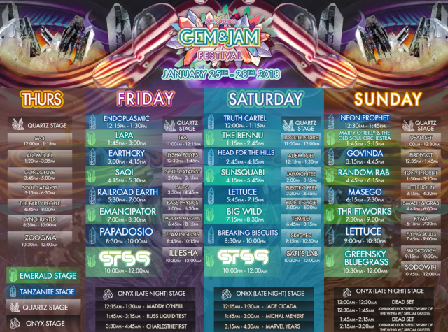 Gem and Jam Festival 2018 Schedule. Photo provided.